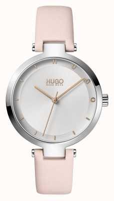 HUGO Mesdames #espoir décontracté | cadran argenté | bracelet en cuir blush 1540074