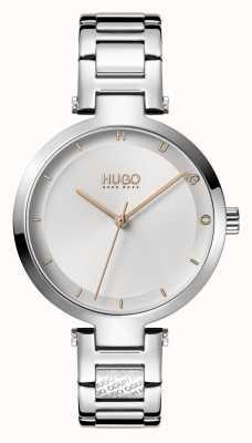HUGO Mesdames #espoir décontracté | cadran argenté | bracelet en acier inoxydable 1540076