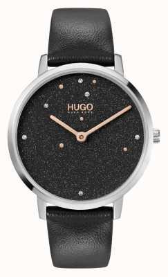 HUGO Mesdames #dream business | cadran noir swarovski | bracelet en cuir noir 1540068