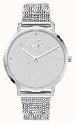 HUGO #entreprise de rêve | femmes | bracelet en maille d'acier | cadran serti de cristal 1540066