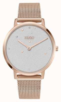 HUGO #rêve | femmes | bracelet en maille d'or rose | cadran serti de cristal 1540067