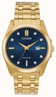 Citizen Montre Corso Eco-Drive pour homme avec cadran bleu et or avec diamants BM7103-51L