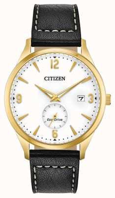 Citizen Montre pour homme avec bracelet en cuir noir Eco-Drive Gold Case IP BV1112-05A