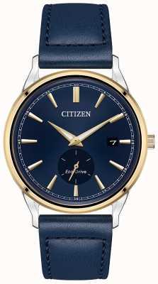Citizen Montre Homme Bracelet Eco-Drive Acier Inoxydable Or IP Bleu Bracelet Cuir BV1114-18L