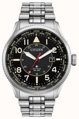 Citizen Montre Homme Promaster Nighthawk à cadran noir en acier inoxydable BX1010-53E