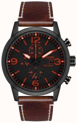 Citizen Montre Sport Eco-Drive pour homme avec bracelet en cuir marron IP noir CA0617-11E