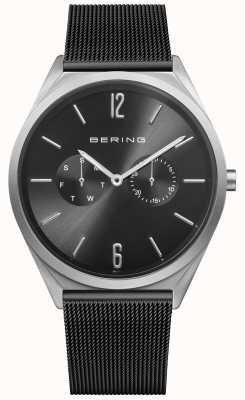 Bering Ultra mince | bracelet en maille d'acier noir | cadran noir 17140-102