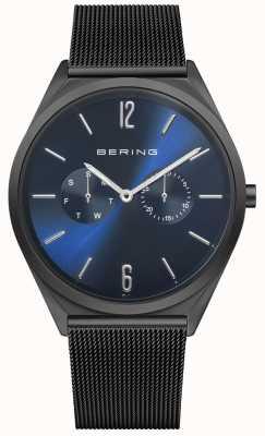 Bering Ultra mince | bracelet en maille d'acier noir | cadran bleu 17140-227