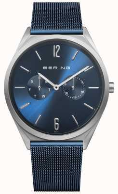 Bering Ultra mince | bracelet en maille d'acier bleu | cadran bleu 17140-307