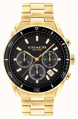 Coach Preston pour hommes | bracelet en acier plaqué or | cadran noir 14602517