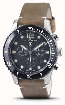 Elliot Brown Bloxworth | bracelet en cuir marron vintage | cadran noir 929-016-L21