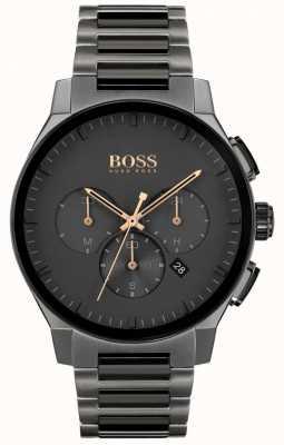 BOSS Visière pour hommes | bracelet ip en acier inoxydable gris | cadran gris 1513814