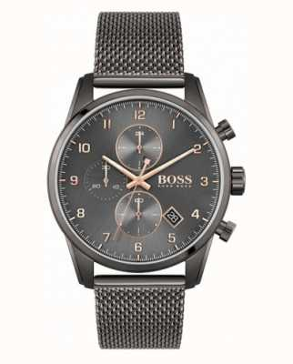 BOSS Skymaster sport lux | bracelet en maille ip noir | cadran noir 1513837