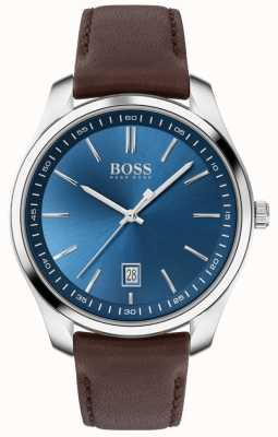 BOSS Circuit sport lux | bracelet en cuir marron | cadran bleu 1513728