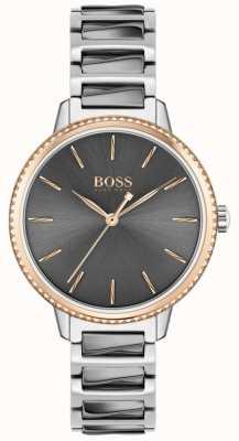 BOSS Signature des femmes | bracelet en acier bicolore | cadran gris 1502569