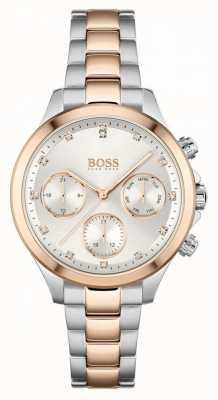 BOSS Femmes hera | bracelet en acier bicolore | cadran argenté 1502564