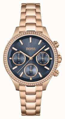 BOSS Femmes hera | bracelet en acier or rose | cadran bleu 1502566