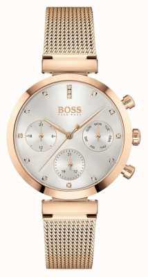 BOSS Femmes impeccables | bracelet en maille or rose | cadran argenté 1502553