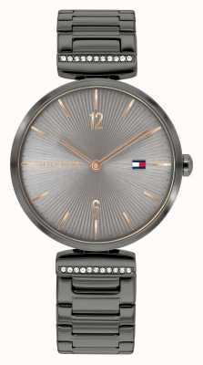Tommy Hilfiger Aria des femmes | bracelet en acier gris bronze | cadran gris 1782276