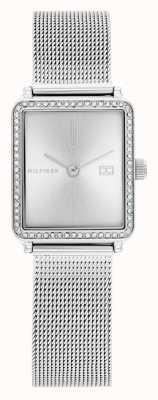Tommy Hilfiger Thé pour femmes | bracelet en maille d'acier | cadran carré argenté | 1782294