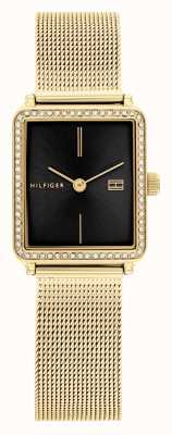 Tommy Hilfiger Thé pour femmes | bracelet en maille plaquée or | cadran carré noir 1782295