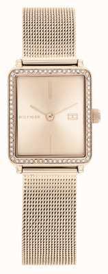 Tommy Hilfiger | femmes | thé | bracelet en maille or rose | cadran carré rose | 1782293