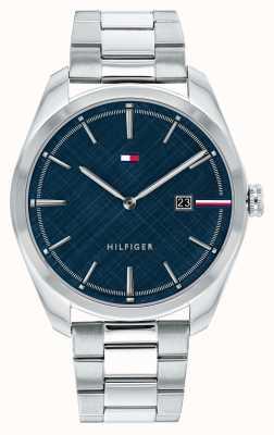 Tommy Hilfiger Theo pour hommes | bracelet en argent en acier inoxydable | cadran bleu 1710426