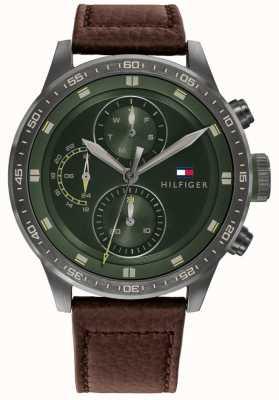 Tommy Hilfiger Trent pour hommes | bracelet en cuir marron | cadran vert 1791809
