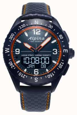 Alpina Montre intelligente Alpinerx bracelet en cuir bleu marine AL-283LNO5NAQ6L