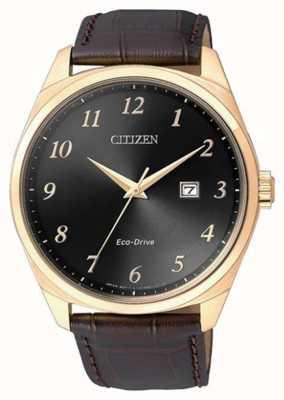Citizen Montre Homme Eco Drive Gold Bracelet en cuir marron IP BM7323-11E