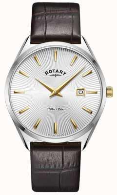 Rotary Hommes ultra slim | bracelet en cuir marron foncé | cadran argenté GS08010/02