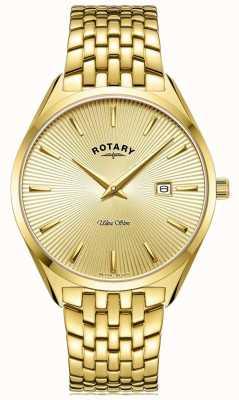 Rotary Hommes ultra slim | bracelet en acier plaqué or | cadran en or GB08013/03