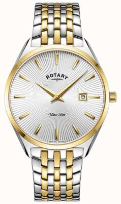 Rotary Hommes ultra slim | bracelet en acier bicolore | cadran argenté GB08011/02
