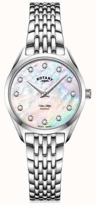 Rotary Femme ultra mince | bracelet en acier inoxydable | cadran en nacre de diamant LB08010/07/D