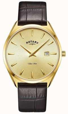 Rotary Hommes ultra slim | bracelet en cuir marron | boîtier plaqué pvd or GS08013/03