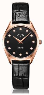 Rotary Montre ultra mince pour femme en or rose et diamants LS08014/04/D