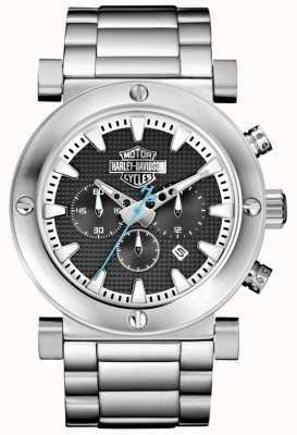 Harley Davidson Chronographe homme | bracelet en acier inoxydable | cadran noir 76B166