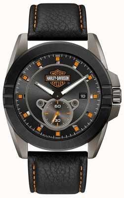 Harley Davidson Des hommes pour lui! | bracelet en cuir noir | cadran gris 78B182