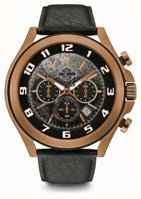 Harley Davidson Bracelet en cuir noir pour homme | cadran noir | 78B148