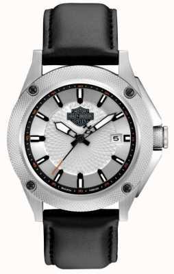 Harley Davidson Bracelet en cuir noir pour homme | cadran argenté / blanc 78B125