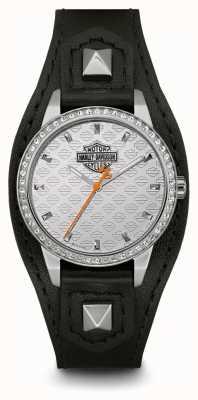 Harley Davidson Manchette en forme de femme | bracelet en cuir noir | cadran argenté 76L183