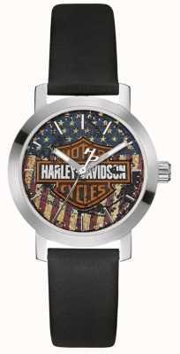 Harley Davidson Bracelet en cuir noir pour femme | cadran drapeau américain 76L174