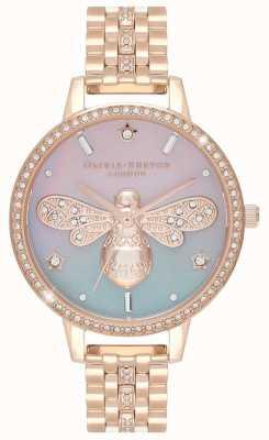 Olivia Burton Abeille scintillante pour femmes | bracelet en acier or rose | ensemble de cristal OB16GB04