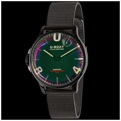U-Boat Sombrelune 38mm | bracelet en maille noire | cadran arc-en-ciel 8470/MT