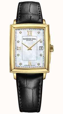 Raymond Weil Toccata pour femmes | bracelet en cuir noir | cadran en nacre 5925-PC-00995