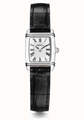 Michel Herbelin Mini art déco pour femmes | bracelet en cuir noir | cadran blanc 17438/08
