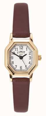 Limit Bracelet en cuir marron pour femme | boîtier plaqué or | cadran blanc 60121