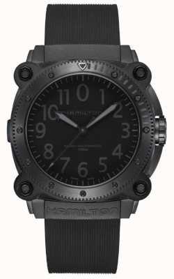 Hamilton Marine kaki en dessous de zéro | bracelet en silicone noir | cadran noir H78505330