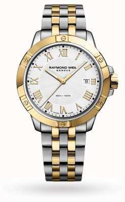Raymond Weil Tango masculin | 41mm | bracelet en acier bicolore | cadran blanc 8160-STP-00308