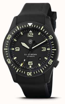 Elliot Brown Holton automatique | bracelet en caoutchouc noir | cadran noir | 101-A10-R06
